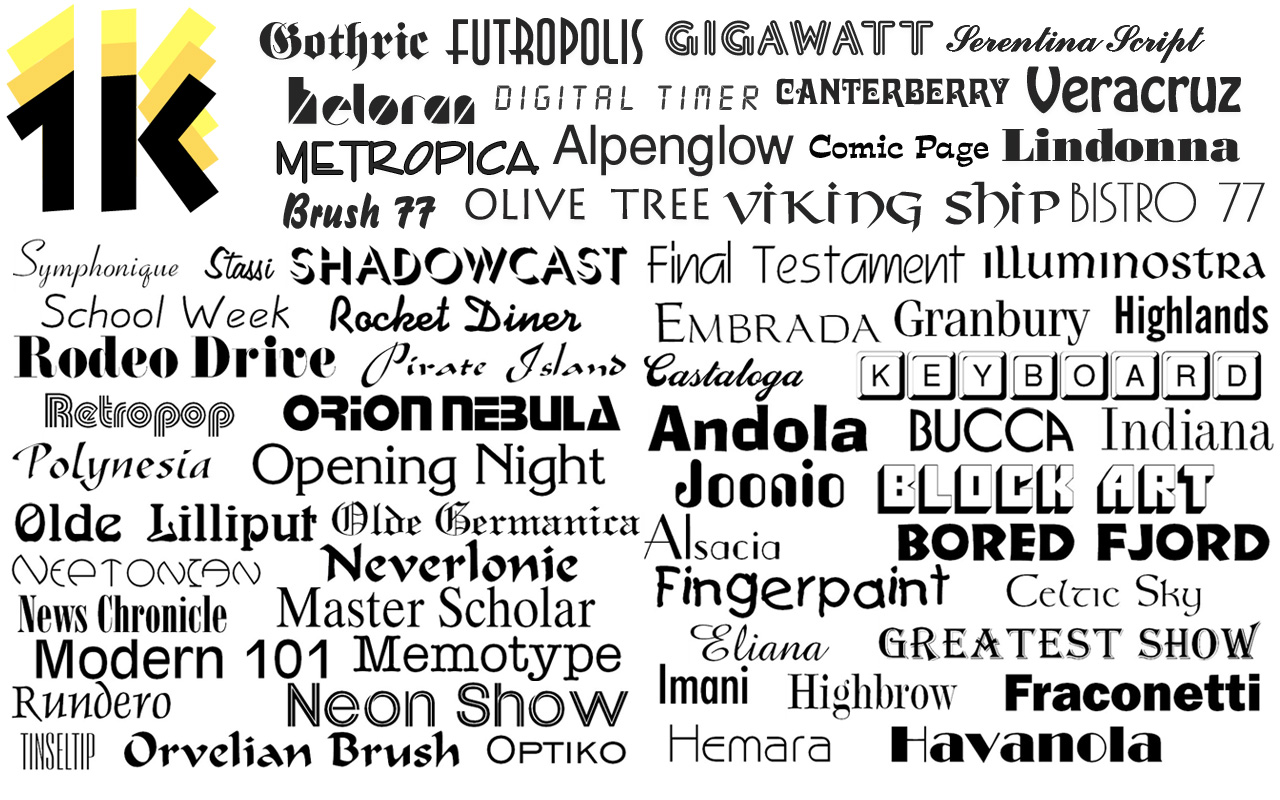 New Webfonts Added to 1000 OpenType Fonts Image