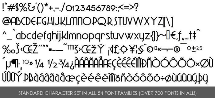 Character set for commercial use fonts