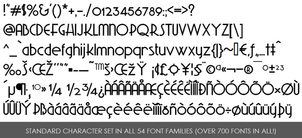 Premium Fonts character set