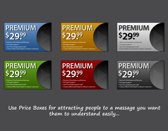 Price boxes in the Mini Design Bundle