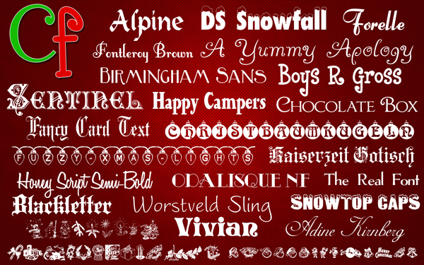 Christmas Fonts for Mac and Windows