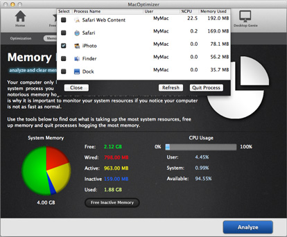 Analyze and quit apps that take up memory on your Mac