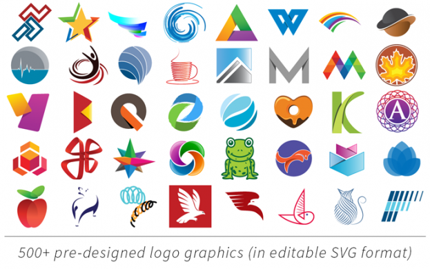 Logo Pop includes pre-designed logo graphics you can edit and change