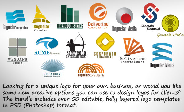 Royalty free logo designs in PSD format