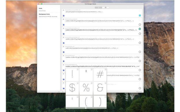 Mac Font Manager Deluxe vies you the option to preview a font using custom text