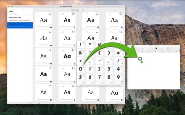 Mac Font Manager Deluxe lets you drag and drop characters directly into any supported app