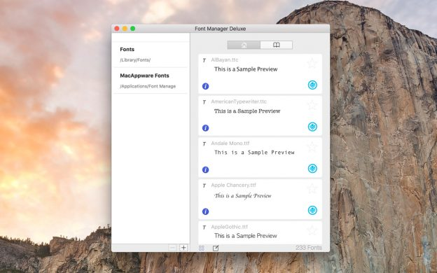 Mac Font Manager Deluxe main window