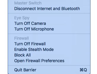 Mac Firewall app runs in your Status menu