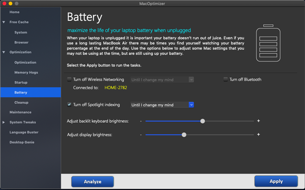 Optimizer Mac battery