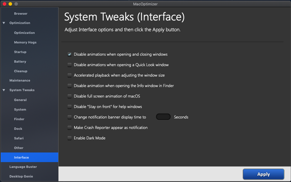 Adjust Mac interface settings