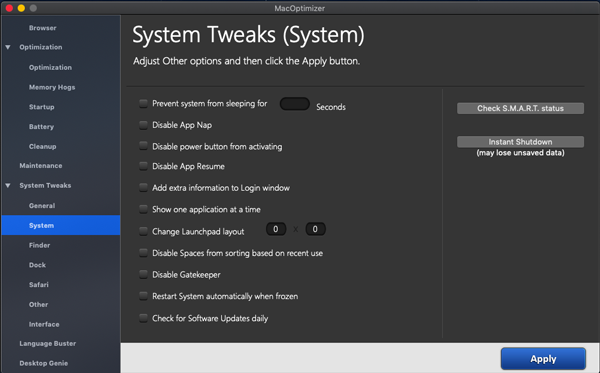 Adjust Mac system settings